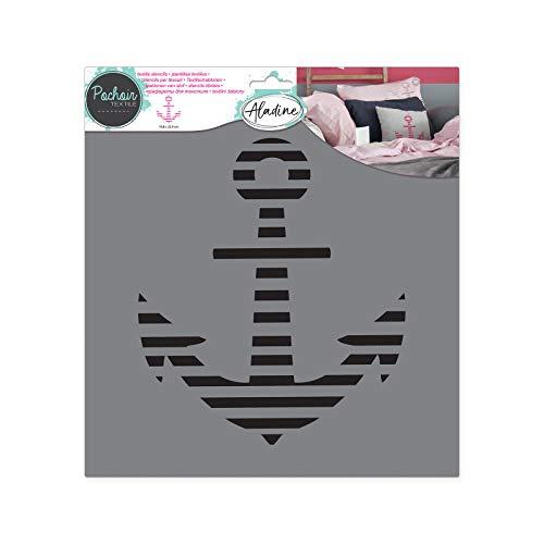 Aladine - Pochoir Textile Ancre - Décoration sur Tissu - Pour Customiser Toiles, Tee-shirts, Tote Bags - Lavable - 28 x 28 cm - Grand Motif Graphique