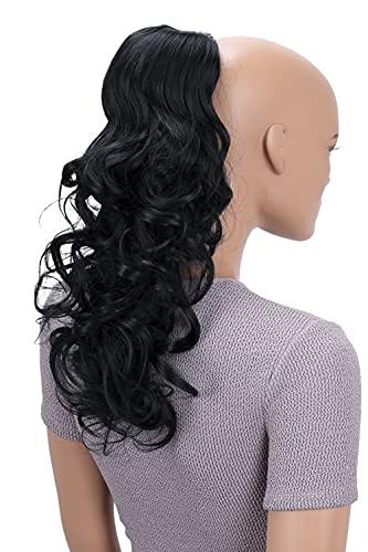 PRETTYSHOP 45cm Haarteil Zopf Pferdeschwanz Haarverlängerung Voluminös Gewellt Schwarz PH9