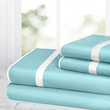 Egyptian Luxury Bed Sheet Set – 1500 Hotel Collection w/ Beautiful Satin Band Trim - Ultra Soft Wrinkle & Fade Resistant Microfiber, Hypoallergenic 4 Piece Set- King - Aqua/White