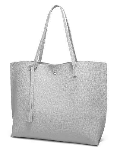 Women's Soft Faux Leather Tote Shoulder Bag from Dreubea, Big Capacity Tassel Handbag Grey