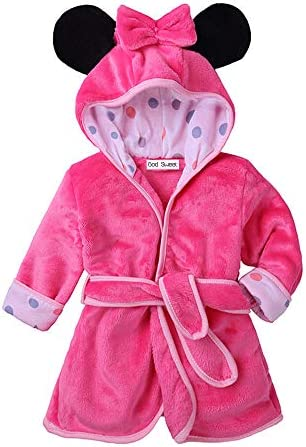 Baby Boys Girls Toddle Winter Flannel Bathrobe Hooded Housecoat 12 18M Rose Red product image