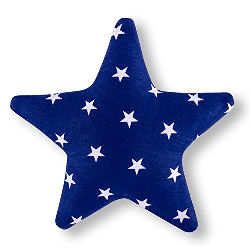Amilian Kissen Stern Sternchen Blau Dekokissen Kuschelig Flauschig ca. 28 cm