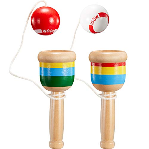 TOODOO 2 Pieces Mini Wood Catch Ball, Cup and Ball Game Hand Eye Coordination Ball Catching Cup