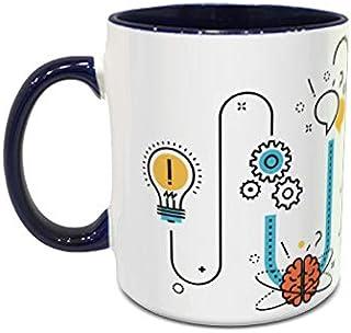 IMPRESS White and Blue Ceramic Coffee Mug with Idea to success Design