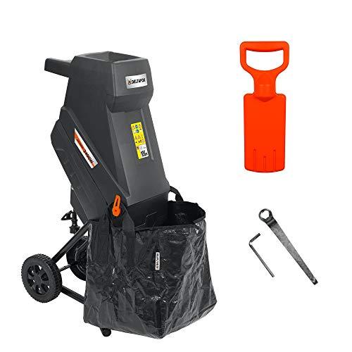 Preisvergleich Produktbild DELTAFOX Elektro Messerhäcksler - DG-EKS 2445-2400 W - inkl. 45 ltr Fangsack - 12 kg leicht - Laufräder mit Radabdeckung - Gartenhäcksler für 45 mm Äste - Schredder