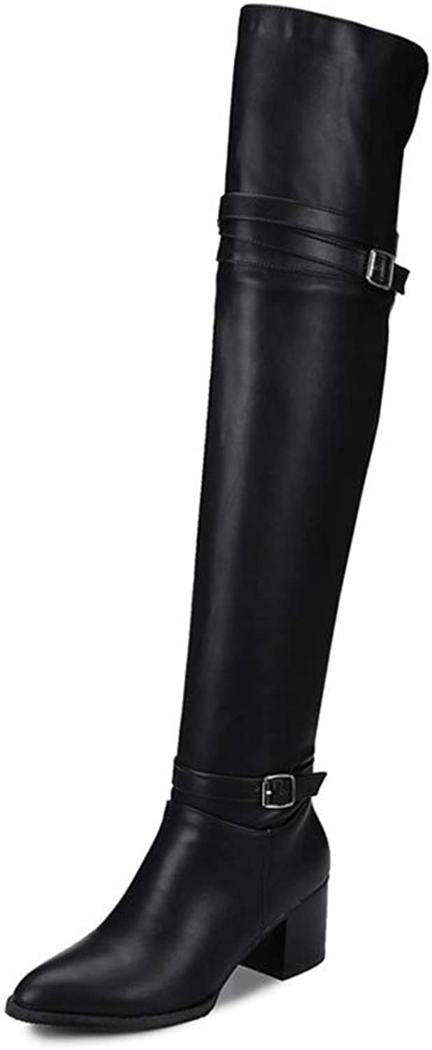 Hoxekle Women Over The Knee Boots Square Mid Heel Pointed Toe Concise Black White Buckle Fashion Female Sexy Long Boot