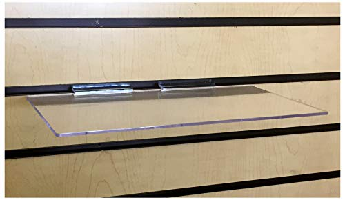 Clear Slatwall Shelves 6 Inch x 12 Inch Set of 4 Retail Display
