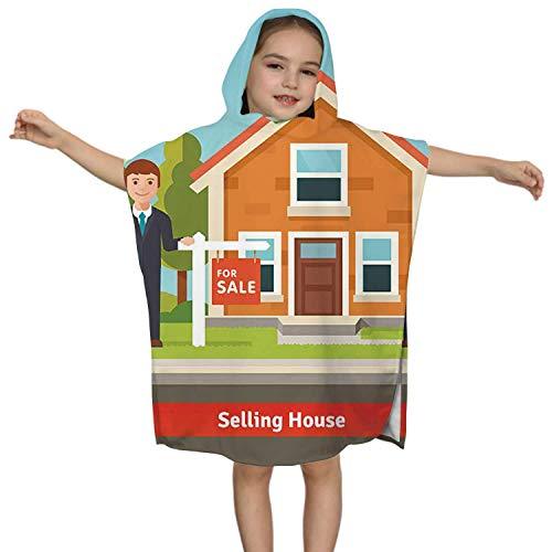 IUBBKI Immobilienmakler und Haus Zeichen - - Haus, Kinder Badetuch für Jungen Mädchen, Kinder Kapuze Strandtuch Schnelltrocknen für Bad/Pool/Strand Badeabdeckung Real Agent