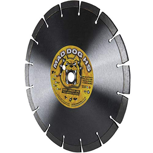 Mad Dog HS 12-Inch (12') X .125 X 1'-20MM Wet/Dry Diamond Blade for Concrete, Masonry, Stone, Roof Tile and More.