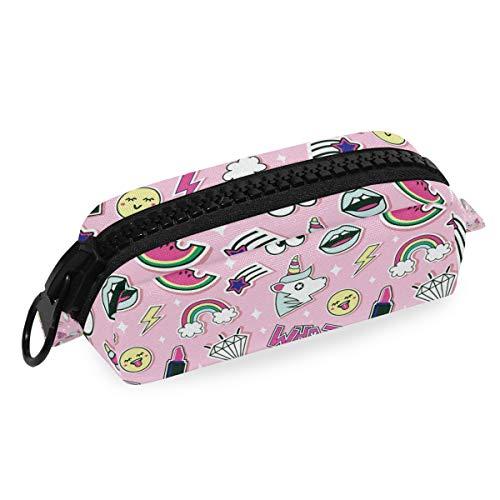 Pink Mädchen Einhorn Lippenstifte Regenbogen Muster Federmäppchen Tasche Schule Schreibwaren Stift Box Reißverschluss Kosmetik Make-up Tasche