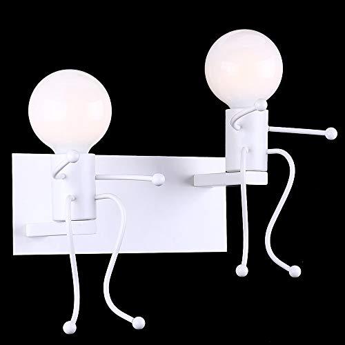 ZRWZZ Kleine wandlamp, industriële retro wandlamp, stijlvolle en eenvoudige smeedijzeren wandverlichting, Art Deco E27 basis wandmontage lamp, slaapkamer nacht gang 2 kleuren optioneel wandklok