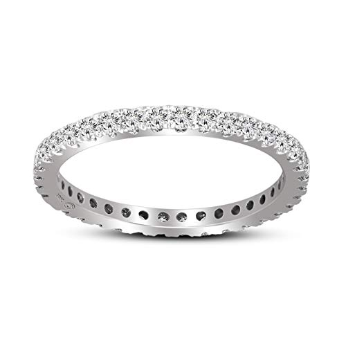 IGI Certified Lab Grown Diamond Ring 14K White Gold 5/8 carat Lab Created Diamond Eternity Band Ring For Women (5/8 CTTW, FG Color,SI1-SI2 Clarity Diamond Jewelry For Women)