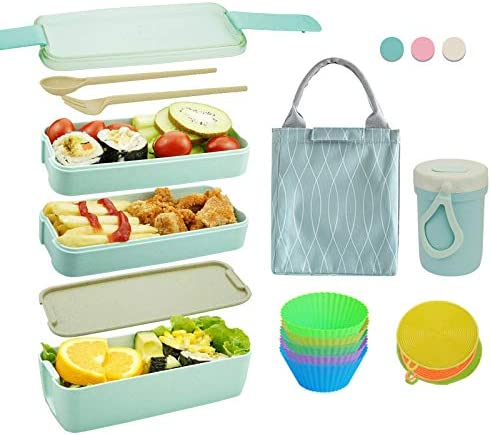 Bento Box Japanese Lunch Box Kit 11 PCS 3 In 1 Compartment Leak proof Bento Lunch Box Meal Prep product image