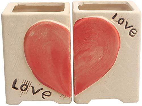 1 par Simple Love Heart Flowerpot Cactus Bonsai Pot Mini macetas creativas de plantas suculentas Plato de amor Macetas de rosas en forma de corazón Contenedor de plantas Macetas de flores de cerámica