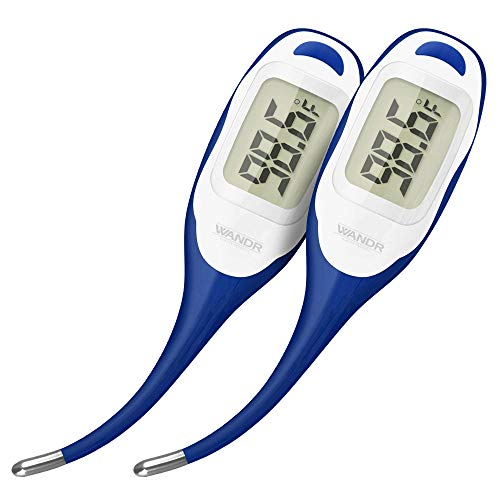 Oral Fever Thermometer for Adult & Baby (2-Pack) | Rapid Temperature Results in Under 20 Seconds | Extra Large Digital Display & Flexible Tip | Upgraded 2020 Model: Bigger Screen & Faster Measuring