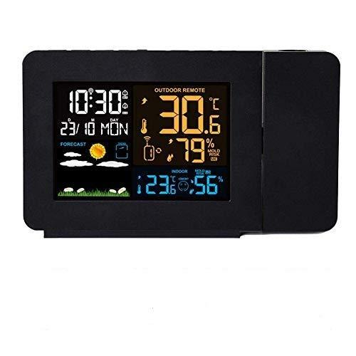 HTYG Projektionswecker-Decken/Wand Projektionswecker mit 2 Alarmen-Multifunktionales Temperaturmessgerät für Innen-und Außentemperatur-4-stufiger Dimmer