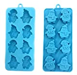Two Holiday Silicone Penguin Shape Blue Ice, Jell-O, Chocolate Mold Trays, Ice Cube Tray