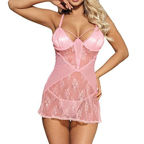 HJHK Damen Sexy Negligee MiniKleid Erotic Babydoll V-Ausschnitt Spitze Lingerie Durchsichtige Nachtwäsche Nachthemd süße romantisch Dessous Chemise Exotische Boudoir Reizwäsche mit-g-String 3XL