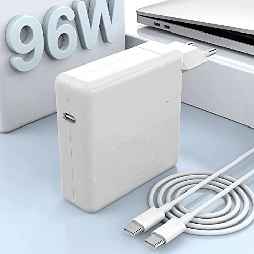 96W USB C Netzteil USB C Ladegerät Kompatibel mit Mac Book Pro Ladegerät 13 15 16 Zoll 2020 2019 2018 Funktioniert mit USB C 87W 61W 30W PD Netzteil, USB-C zu USB-C Ladekabel (6,6 Fuß / 2 m)