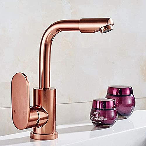 Grifo baño espacio lavabo de aluminio oro rosa/champán oro plata gris instalación de encimera pulida orificio único giratorio en frío y en caliente con lavabo de aireación (color: dor