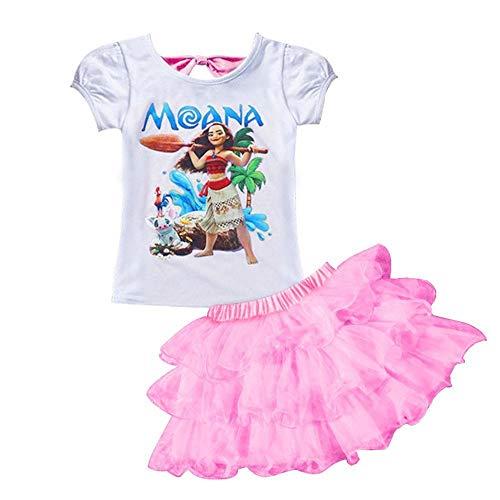 AOVCLKID Little Girls' 2Pcs Suit Cartoon Shirt and Skirt Set (Pink,110/3-4Y)