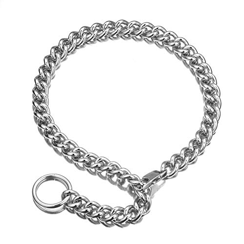 Fashion Silver Tone 316L Stainless Steel Choker Necklace Women Men Long Curb Chain Rapper Necklace (30 inches)