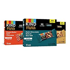 Contains 30 - 0.7 oz KIND Mini bars. (10) Dark Chocolate Nuts & Sea Salt, (10) Caramel Almond & Sea Salt, (10) Peanut Butter Dark Chocolate We know how it goes - sometimes you just need chocolate. When cravings call, skip the candy jar and reach for ...