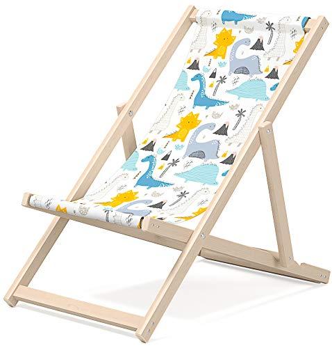 Novamat - Sedia a sdraio per bambini, in legno, pieghevole, da spiaggia, da giardino, per balcone, spiaggia, motivo dinosauro