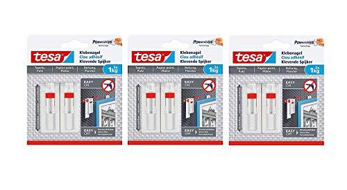 Tesa Verstellbarer Klebenagel für Tapeten und Putz/Selbstklebender Nagel von tesa Powerstrips / 2 x 1 kg Halteleistung (1 kg - 6 Nägel)