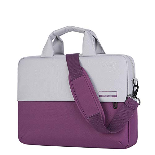 Men's and Women's Clamshell Laptop and Tablet Shoulder Bags, Business Bag briefcases with Handles, specifically Designed to Hold 15-15.6 inches, black-15.6in_Contrast_Color-Purple