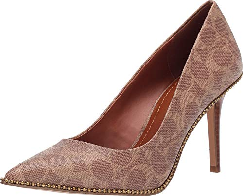 COACH 85 mm Waverly Pump with Beadchain Tan Coated Canvas 6.5