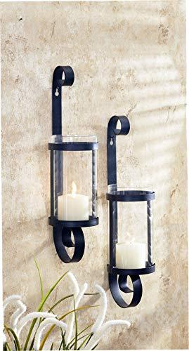 Unbekannt VARILANDO® Wand-Kerzenhalter aus Metall und Glas im 2er-Set Windlicht Wanddekoration
