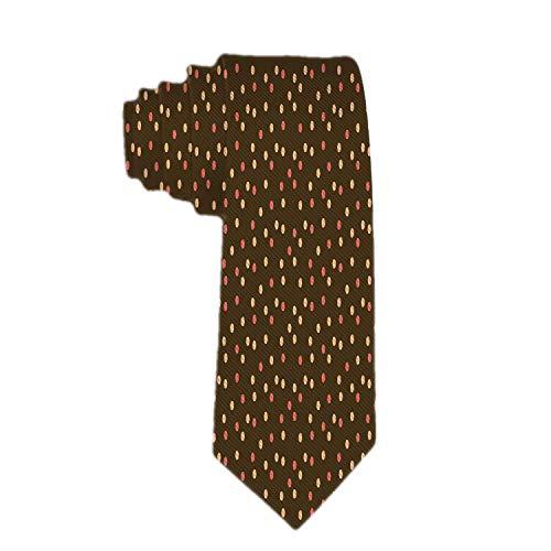 Web--ster Corbata clásica de negocios para hombre, marrón, con lunares diferentes en lazos dispersos