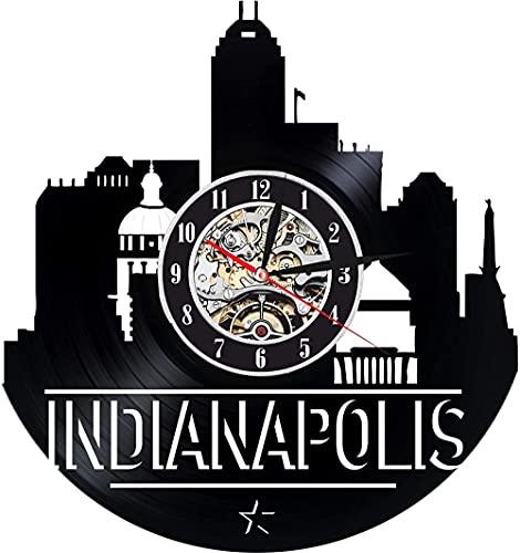 KDBWYC Reloj de Pared de Vinilo de Indiana Indiana para Amigos de Hombre Mujer - Decoración para Sala de Estar de Oficina - Skyline