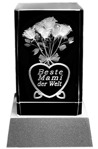 Kaltner Präsente Stimmungslicht LED Kerze/Kristall Glasblock / 3D-Laser-Gravur Motiv Mutter Beste Mami der Welt
