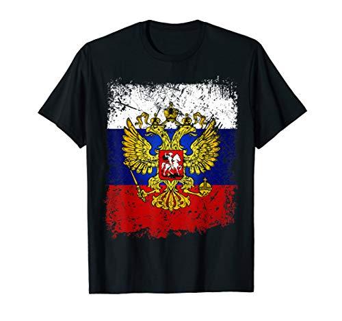 Russland T-Shirt mit Flagge / Fahne und Adler Wappen Russia T-Shirt