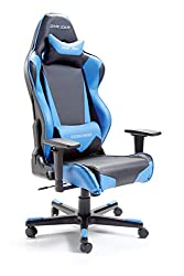 Robas Lund 16 DX Racer, chair, office chair, desk chair, executive chair with armrests, gaming chair, aluminum turnstile, 69 x 127-134 x 53 cm, cover imitation leather black-blue, polyurethane, 53.0x69.0x134.0 cm