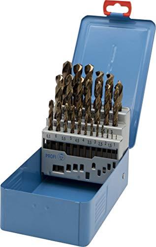 PTG Ratioline HSS-Co5 Spiralbohrer-Set 25 teilig (Größe 1,0 – 13 in Metallkassette, gold-finish, cobaltlegiert, Metallbohrer) 333859025