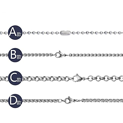 AMOZ Joyería Collares de Cadena de Plata de Trigo de Acero de Titanio de 4 Mm para Hombres Amp; Mujeres,B
