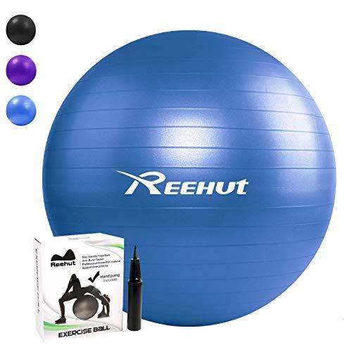 Reehut Ballon Fitness Yoga Balle d'Exercice Antidérapant Balle Gymnastique avec Pompe - pour Entraînement Grossesse Equilibre Chair - Bleu 55cm