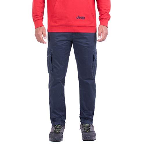 Jeep Pantalón con bolsillos laterales de algodón con aspecto de viscosa, para hombre Azul oscuro 48