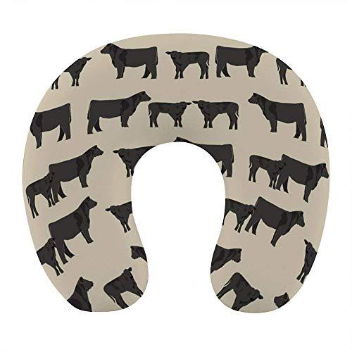 Soft Memory Foam Reisekissen, U-förmiges Nackenkissen mit waschbarem Bezug unterstützt Nacken- und Schmerzlinderung, Angus Cattle Animal