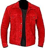 HiFacon - Giacca da uomo in pelle scamosciata, stile motociclista Racer Cafe Racer, stile retrò, vintage, motociclista, Rosso - Giacca in camoscio, XL