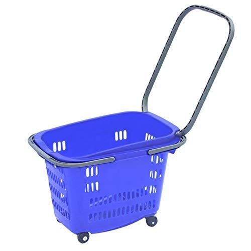 Supermarkt-Einkaufskorb, Trolley mit Rädern, Einkaufskorb Picknickkorb, Lebensmitteleinkäufe, Kunststoffkorb, Einkaufskorb, Zweiradkorb, Teleskopstange, kleines Gewicht, tragbar