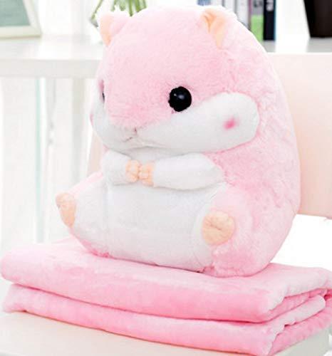 Emmala schattig knuffelig hamster pluizige pluche casual chique kussen met fleece dekens zacht speelgoed pluche speelgoed gevulde speelgoed gezellige baby kussen kinderen kamer decoratie voor hamster fans (1 hamster kussen 1.7M