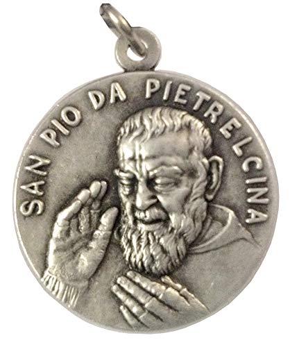 MEDAGLIA DI SAN PIO DA PIETRELCINA ( PADRE PIO ) REALIZZATA IN ALTO RILIEVO - BIG SIZE 32 MM - 100% MADE IN ITALY