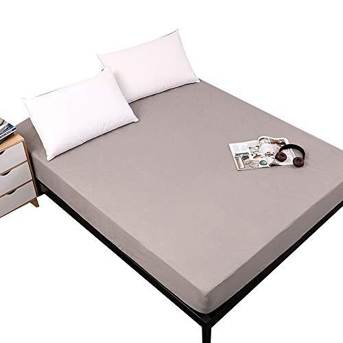 ABUKJM Funda de colchón impermeable de color sólido, antiácaros, protector de colchón impermeable, para colchón de cama (gris, doble 90 x 18 cm + 18 pulgadas)