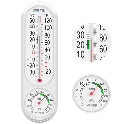 Outdoor/Indoor Thermometer Hygrometer Humidity Meter Thermometers Temperature Humidity Gauge Meter with Celsius/Fahrenheit (℃/℉) for Patio Field Cellar Garden Humidors Greenhouse Closet by DWEPTU