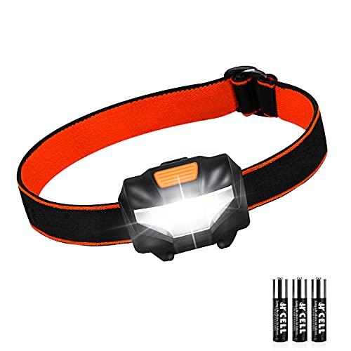 Linterna Frontal LED, Linterna Cabeza 3 Modos de Iluminación IPX4 Impermeable 140 Lúmenes 60° Ajustable, Lampára de Cabeza para Correr, Acampar, Cenderismo, Pesca, Caminar, 3 Pilas AAA Incluidas