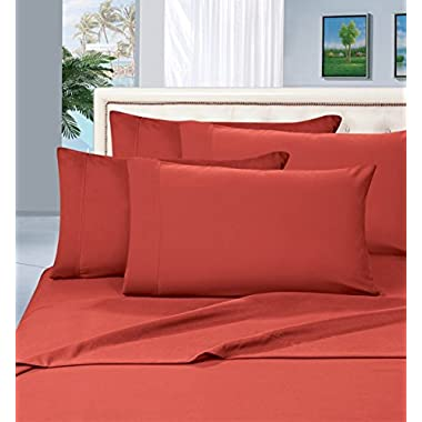 Best Seller Luxurious Bed Sheets Set on Amazon! Elegant Comfort 1500 Thread Count Wrinkle,Fade and Stain Resistant 4-Piece Bed Sheet set, Deep Pocket, HypoAllergenic - Queen Rust
